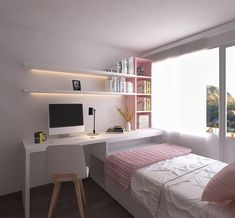 31 Admirable Tiny Bedroom Design Ideas - Several men and women are with the opinion that fine interior designing is often a term only for homes with substantial sized bedrooms. Small Room Design Bedroom, Home Room Design, Small Room Decor, Small Bedroom Office, Very Small Bedroom, Small Bedroom Interior, Stylish Bedroom, White Bedroom, Teen Bedroom