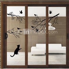 Window Stickers Window Decals Style Birds on The Tree PVC Door stickers 2016 - $11.99