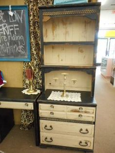 $156 -  Shabby chic chest with 3 drawers and hutch top - 2 tone shabby chic painted finish black and beige, distressed and finish with a hand applied clear wax. ***** In Booth D8 at Main Street Antique Mall 7260 E Main St (east of Power RD on MAIN STREET) Mesa Az 85207 **** Open 7 days a week 10:00AM-5:30PM **** Call for more information 480 924 1122 **** We Accept cash, debit, VISA, Mastercard, Discover or American Express