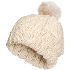 H&M Cable-knit hat (€5,44) ❤ liked on Polyvore featuring accessories, hats, beanies, h&m, hair, natural white, h&m hats, cable beanie, pom pom hat and white beanie