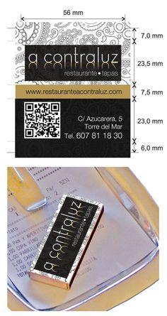 """Propuesta diseño cajas de cerillas modelo """"Hotel"""" para el restaurante A Contraluz."""