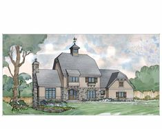 European House Plan with 3372 Square Feet and 4 Bedrooms from Dream Home Source | House Plan Code DHSW70507