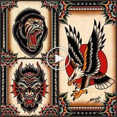 Samuele Briganti Set of Prints Flash Art Tattoos, Body Art Tattoos, Sleeve Tattoos, Traditional Tattoo Sketches, Traditional Eagle Tattoo, Traditional Tattoo Design, Traditional Flash, American Traditional, Neotraditionelles Tattoo