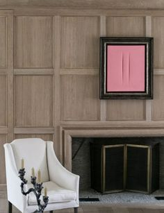 """I love the colour Pink. It makes a bold statement"" - SAMUEL LARSEN - (Stunning Design by Belgian Architect Benoît Viaene) Wood Panel Walls, Wood Paneling, Paneled Walls, Panelling, Inspiration Wall, Interior Inspiration, Wall Design, House Design, Fireplace Surrounds"