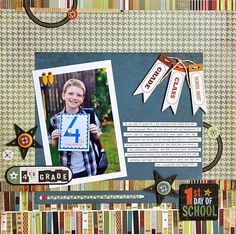 1st Day Of School - Wonderful layout with layering and telling the story and the photo just pops. #scrapbooking #firstdayofschool