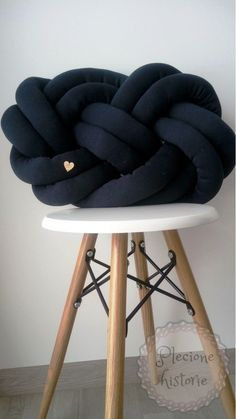 Navy knot pillow