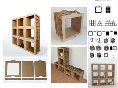 Best Ideas For Diy Bookshelf Cardboard Furniture Diy Cardboard Furniture, Cardboard Box Crafts, Cardboard Design, Recycled Furniture, Retro Furniture, Diy Furniture, Furniture Removal, Carton Diy, Diy Box
