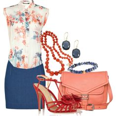 """""""#072: Blue, Coral, and Floral"""" by eiluned on Polyvore"""