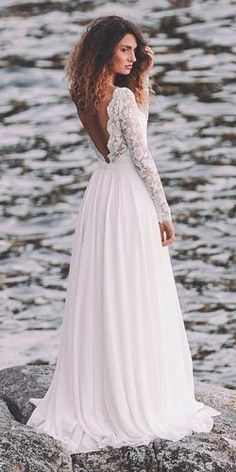 simple wedding dresses beach lace long sleeves straight open back light and lace couture #beachweddingdresses