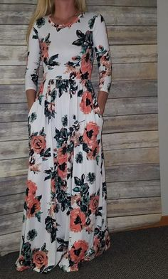 2020 Women Fashion blue and white floral dress best floral dresses online Modest Dresses, Modest Outfits, Simple Dresses, Modest Fashion, Cute Dresses, Beautiful Dresses, Casual Dresses, Fashion Dresses, Dresses With Sleeves