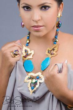 #collar en #turquesas #murano #bronce #necklaces