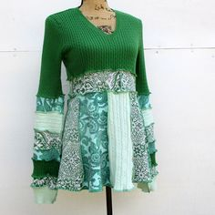 Spring Green Cotton Tunic - Boho Chic Upcycled Clothing - Recycled Clothing - Patchwork - Romantic - Flattering Feminine Clothes - Summer
