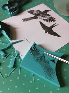 Making bird rubber stamps. Hand carved stamps by CassaStamps