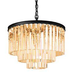 Odeon 9 Light Golden Teak Glass Fringe Chandelier in Java Brown Finish - Restoration Revolution 700129-002
