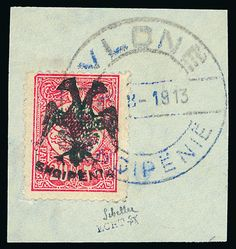 Albania: 1913 20pa. rose-carmine on Turkish overprint issue, fine used on piece (46 x 48mm), signed by Scheller beneath adhesive and Rommerskirchen handstamp on reverse. Mi. 13, S.G. 13, cat. £850.
