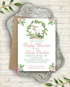 Cactus Succulent Woodland Deer Invite Invitation Baby Shower Boho Floral Watercolor Birthday Party Printable