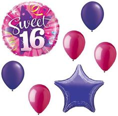 "Custom, Fun & Cool {Big Large Size 11""-18"" inch} 7 Pack of Helium & Air Inflatable Mylar Aluminium Foil/Latex Rubber Balloons w/ Sweet 16 Star Design [Variety Assorted Multicolor in Pink &Purple]"