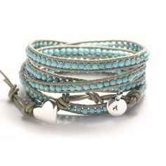 Leather wrap bracelet Tiny turquoise beads by simplyyoujewelry, $78.00