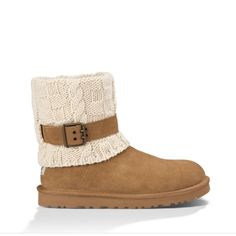 """UGG authentic Cassidee cable knit boots Sz 8 new UGG authentic Cassidee cable knit boots Sz 8 new 100% authentic buckle strap wrapping the cable-knit cuff adds a moto-inspired touch to a favorite short bootie lined with soft UGGpure, a wool textile made to feel and wear like genuine shearling. 7"""" boot shaft. AUTHENTIC STYLE 1011460 UGG Shoes"""