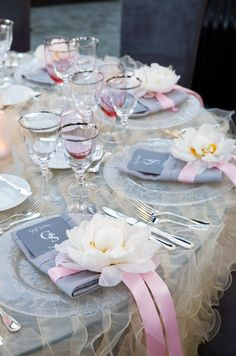 Love the peony on the menu card. Beautiful gray & pink table setting perfect for a bridal shower
