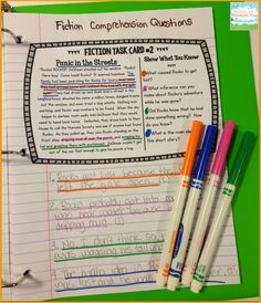 Using task cards in small groups (or whole class) to review answering fiction comprehension questions. Provide evidence within the text, and who doesn't love color coding!?$