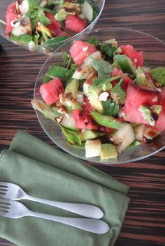 "Planning a 4th of July weekend getaway? Don't forget to pack something fresh! Try our ""MARTINI SALAD"" packed with cool #watermelon, creamy #avocado, crisp #cucumbers & #feta cheese... This #salad is perfect after a long day under the grueling Summer sun. Click on the link to access the #recipe. ENJOY!"