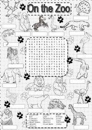 English worksheet: wordsearch ZOO ANIMALS