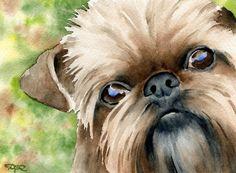 Brussels Griffon Art Print by Watercolor Artist DJ Rogers Watercolor Artists, Watercolor Paintings, Watercolor Animals, Watercolours, Watercolor Paper, Griffon Dog, Brussels Griffon, Dog Signs, Dog Paintings
