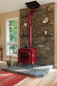 Country Living Room with Resolute Acclaim 2491 Non-Catalytic Wood Burning Stove, Hardwood floors