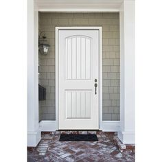 Premium 2 Panel Plank Primed White Steel Prehung Front Door With 36 In Left Hand Inswing And 4 In Wall