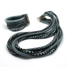 JACQUELINE LILLIE | Neckpiece and Bracelet | Black and Blue