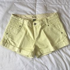 Sportsgirl Yellow Denim Shorts. Pastel citrus yellow color. Great condition! Australian brand. Cuffed hem. Side pockets, and back pockets with zip closure. Size 10 AUS = Size 6 US. Small mark on back right pocket (see 2nd photo). Sportsgirl Shorts Jean Shorts