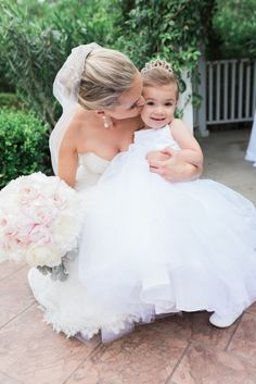 The sweetest bride + flower girl moment: http://www.stylemepretty.com/little-black-book-blog/2016/07/27/beaming-bride-major-wedding-goals/ | Photography: Hello Blue Photo - http://hellobluephoto.com/
