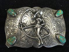 For my inner cowgirl... :)  STERLING SILVER BELT BUCKLE COWGIRL WESTERN  TURQUOISE