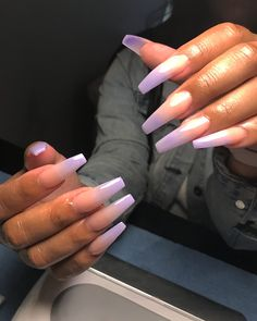 In search for some nail designs and ideas for the nails? Here's our list of 14 must-try coffin acrylic nails for fashionable women. Aycrlic Nails, Dark Nails, Long Nails, Hair And Nails, Long Cute Nails, Nails Ideias, Purple Ombre Nails, Dark Ombre, Coffin Nails Ombre