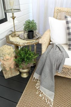 Farmhouse Glam Front Porch before and after - see the dramatic change