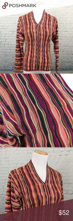 """Missoni Made in Italy Long Sleeve Care tag is missing but it is a lovely knit material. Bust is 16"""" across (unstretched), total length: approx. 22"""". This is an authentic vintage Missoni v-neck piece in excellent used condition. Has the classic Missoni look to it, the close up pics of the material are most representative of color. Missoni Tops Blouses"""