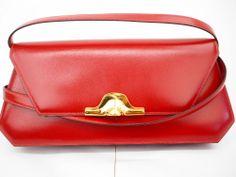 90f6a8dcdc8 Authentic HERMES Napoleon Red Box Calf Leather Clutch Shoulder bag Vintage  Hermes Vintage, Calf Leather