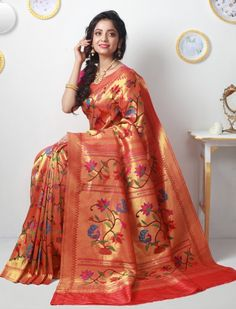 Soyarabai Celebrating Love And Life Gold Zari Double Turning Paithani Silk Saree Cotton Sarees Online, Stylish Sarees, Handloom Saree, Saree Styles, Beautiful Saree, Saris, Saree Collection, Saree Wedding, Indian Sarees