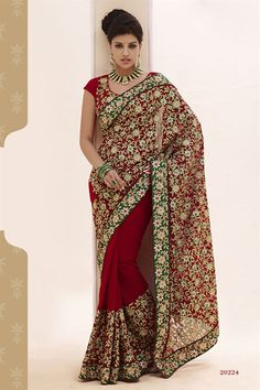Beauteous Bridal Wear Embroidered Saree - $105.51