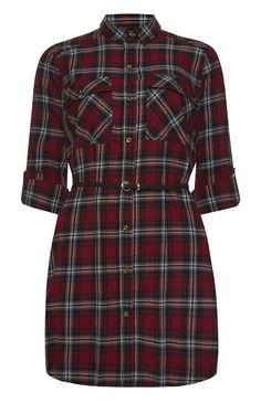 Primark - Red Check Lightweight Belted Shirt Dress