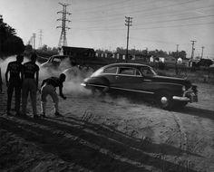 Illegal drag racing. Los Angeles, 1954.