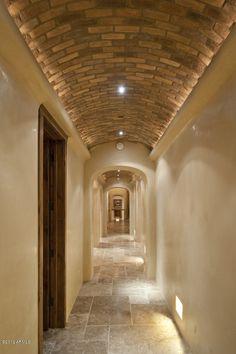 Hallway, brick ceiling