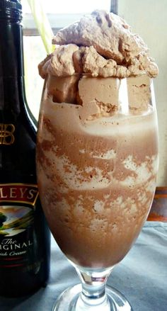 Frozen Baileys Irish Cream Hot Chocolate topped with Chocolate Whipped Cream