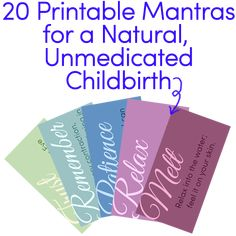 20 Printable Mantras for a Natural, Unmedicated Childbirth - so awesome to have on hand! Birth Doula, Baby Birth, Birth Quotes, Om Mantra, Birth Affirmations, Positive Affirmations, Water Birth, Pregnancy Labor, Childbirth Education