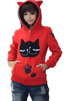 Red Kitty Cartoon Hoodie... http://www.hotzipuphoodies.com/category/red/