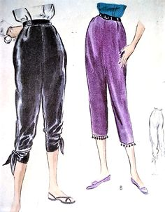 1950s DRAMATIC Day or Evening Tapered Pants Pattern VOGUE 8124 Gypsy Pants Capri Tied Bands High Waist Size 26 Waist Easy To Make Vintage Sewing Pattern