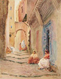 Algérie - Peintre français   Alphonse BIRCK(1859-1942) , Aquarelle sur papier, Titre :RUELLE ANIMÉE À ALGER