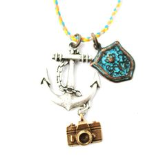 Anchor Camera and Shield Shaped Charm Necklace in Silver $10 #travel #sailing #photography #necklaces #jewelry