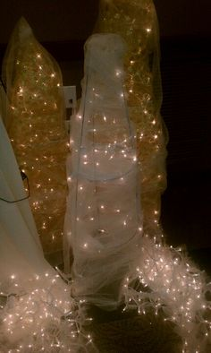 Those garden things upside down with tulle and lights… Decor. Those garden things upside down with tulle and lights… Tulle Decorations, Diy Wedding Decorations, Prom Decor, Gala Decor, After Prom, Tomato Cages, Decorating With Christmas Lights, Father Daughter Dance, 50th Wedding Anniversary
